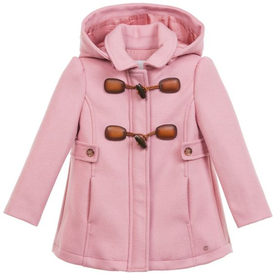 Baby Girls Pink Wool &amp Cashmere Duffle Coat | Coats Wool and