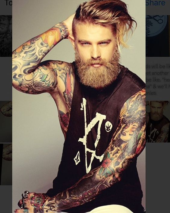 brave bearded photo tattoos style