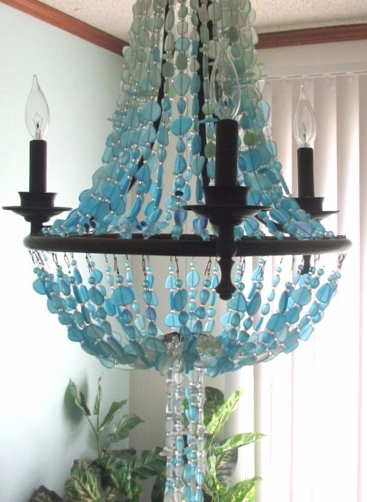 Grand Chandeliers For Coastal Style Living With Images Beach Bedroom Decor Sea Glass Decor Sea Glass Chandelier