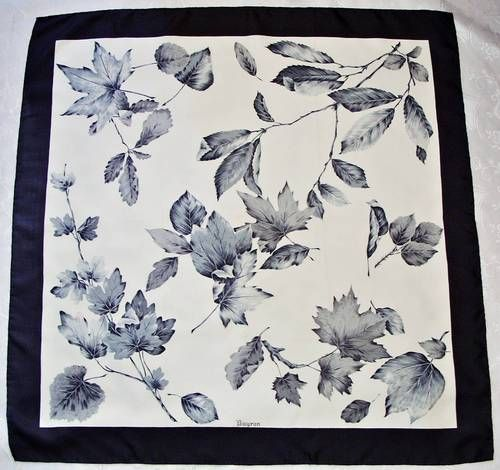 -VINTAGE AUTHENTIC BAYRON FLORAL ART LEAVES GRAY SILK