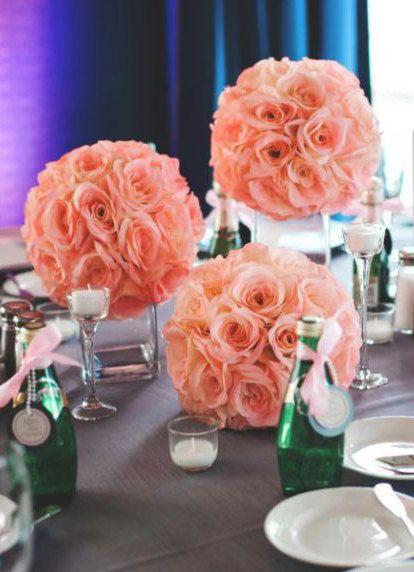 Pink Blush flower ball Premium Silk Roses WEDDING by KimeeKouture
