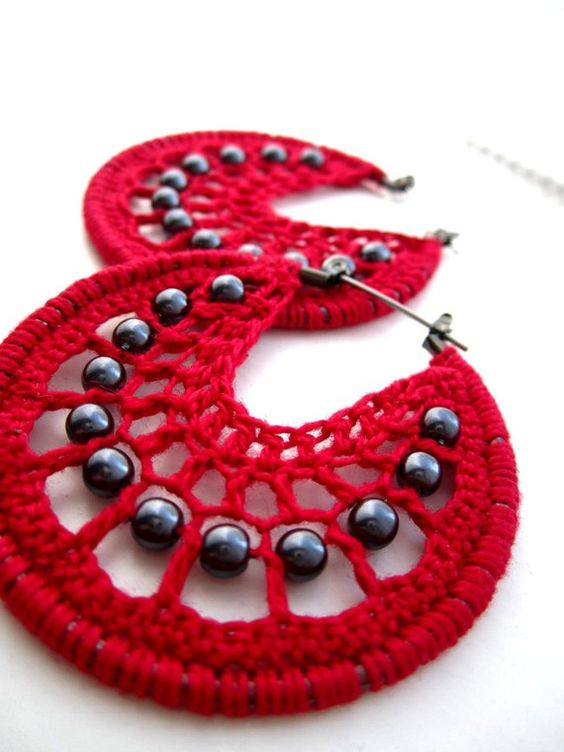 Crocheted hoops with beads in red and by BohemianHooksJewelry, $13.00