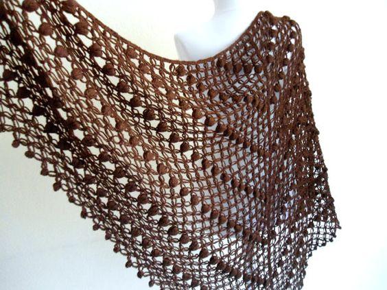 crochet shawl, wedding, bride, Holiday Accessories, Christmas, Halloween, gift, Brown scarf