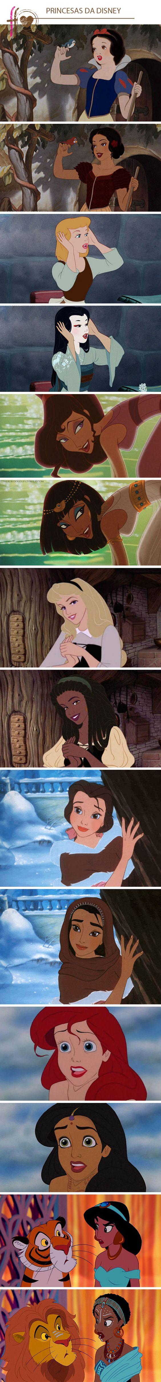As princesas da Disney em diferentes etnias