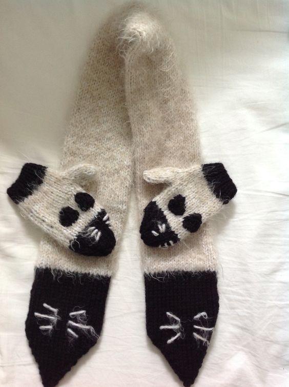Écharpe et moufles chat!