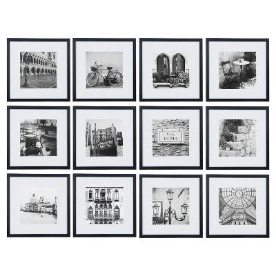 12pc 12 X 12 Black Frame Kit Matted To 7 5 X 7 5 Gallery Perfect In 2020 Gallery Wall Frames Gallery Wall Kit Photo Wall Gallery