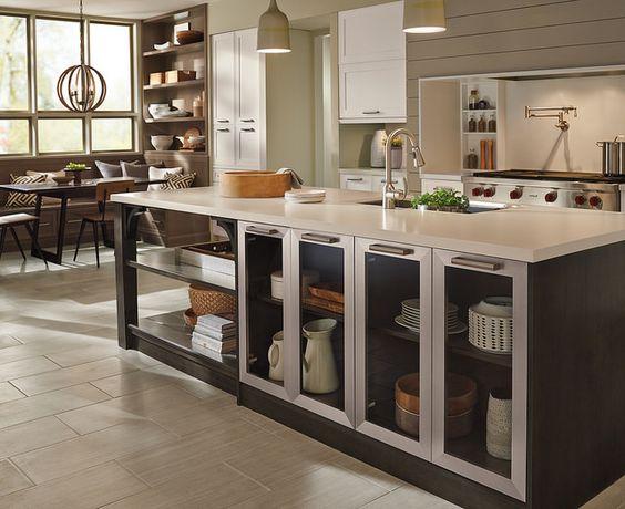 Open kitchen island storage. #prescottkitchens www.PrescottKitchens.com