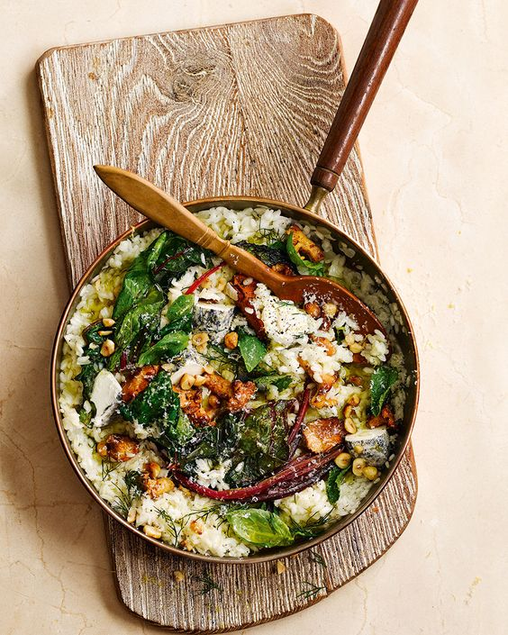 This wild mushroom, chard and goat's cheese risotto recipe shows off the best of autumn's bounty.