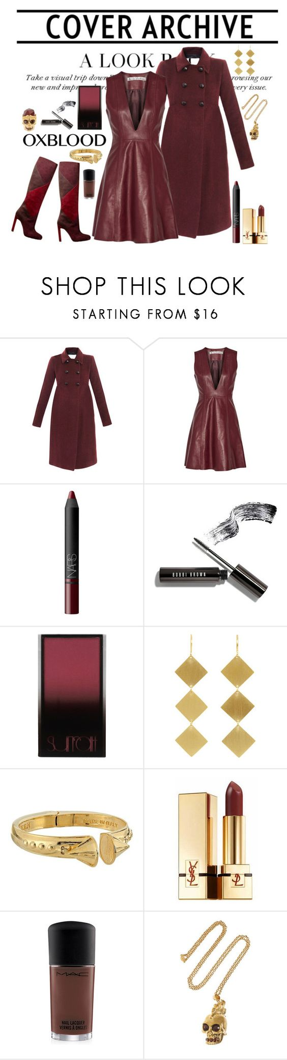 """""""Leather and suede - oxblood"""" by riquee ❤ liked on Polyvore featuring Opening Ceremony, Acne Studios, Brian Atwood, NARS Cosmetics, Bobbi Brown Cosmetics, Surratt, Irene Neuwirth, Alexander McQueen, Yves Saint Laurent and MAC Cosmetics"""