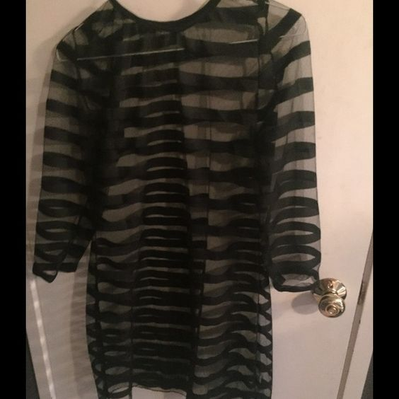 Black and sheer dress Black and sheer cocktail dress 3x fits size 20/22 probably would fit 18 very sheer so wear something under it. NWOT Dresses Long Sleeve