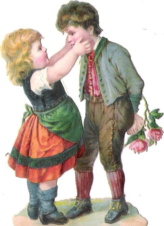 Oblaten Glanzbild scrap die cut chromo Kind child couple Paar Knabe Lederhose: