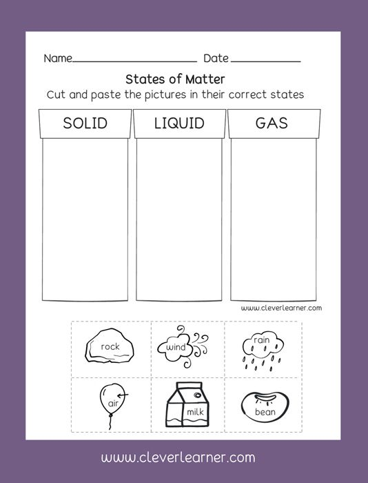 States Of Matter Solid Liquid Gas Free Preschool Activity