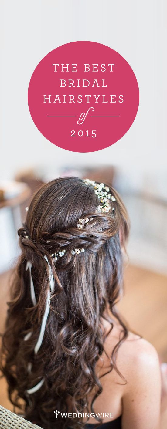The Best Bridal Hairstyles of 2015: We rounded up the top 14 real bride hairstyles of 2015! Long and romantic, short and sweet, bridal braids, updos and more! See them all on @weddingwire {Kiel Rucker Photography}
