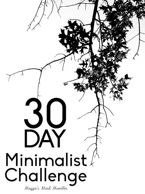 30 Day Minimalist Challenge Minimalism is a tool that can assist you in finding freedom. Freedom from fear. Freedom from worry. Freedom from overwhelm. Freedom from guilt. Freedom from depression. Freedom from the trappings of the consumer culture weve built our lives around. Real freedom. For the next thirty days I invite you to try one thing from this list until you've completed it. Here is aprintableof the checklist belowso you can keep track of which you've done. Here are some grea...