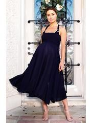 Navy Crystal swing formal maternity evening gown by Nicole Maternity