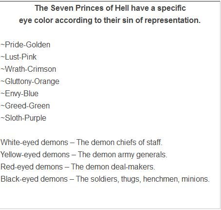 Demon eye colour tends to be indicative of their status and what they represent. Here's one chart that explains it.