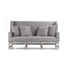 Grey Oak Bench with Grey Upholstery