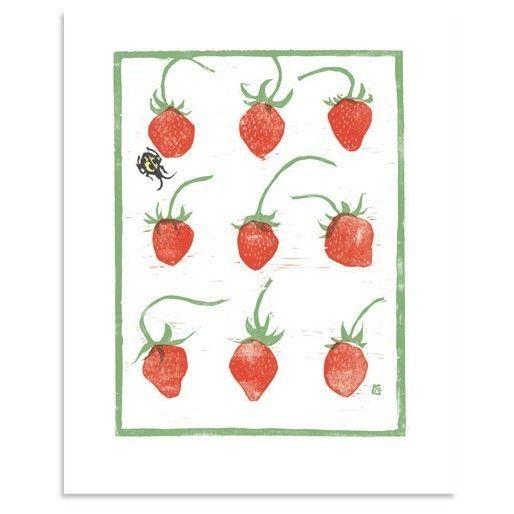 Votre choix de 4 légumes et fruits Block Print par drenculture