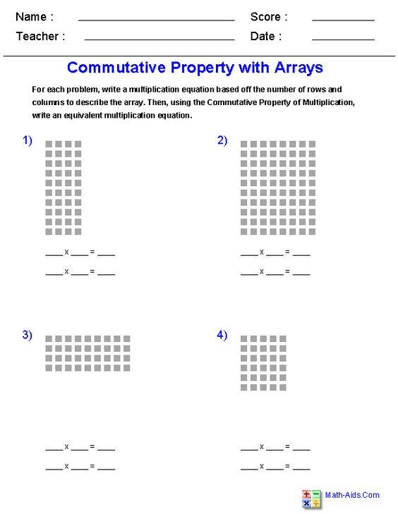 Commutative Property of Multiplication<br>with Arrays Worksheets ...