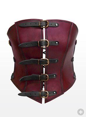 Luftpiratin Ledercorsage rot Hochwertige Lederprodukte von Andracor, handgefertigt in Berlin