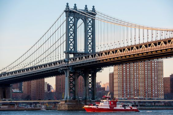 New York's Manhattan Bridge connects Lower Manhattan to Brooklyn. Don't miss the opportunity to walk or bike across it!