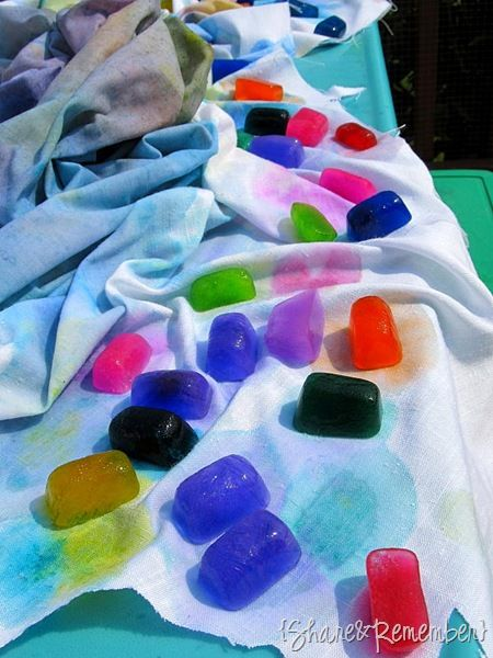 painting on fabric with ice cubes of watercolor paint.  awesome idea!  can't wait to try this with my son!