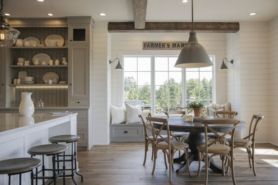 French-Farmhouse-Kitchen-patina, natural-wood-shiplap-walls