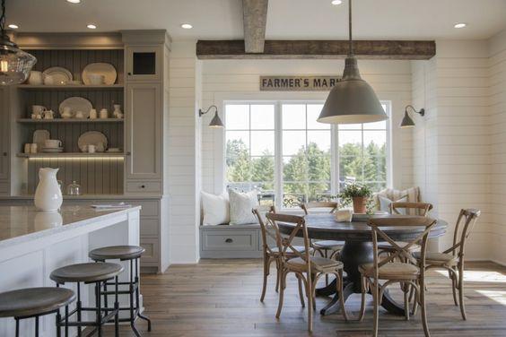 French-Farmhouse-Kitchen-patina, natural-wood-shiplap-walls