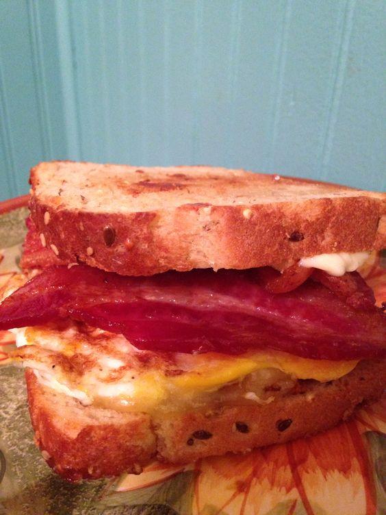 Gouda cheese, bacon, egg