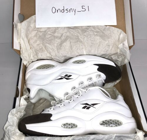 Ds Reebok Question Low White Chocolate Iverson Size 10 100 Retro Reebok Retro White Basketball Shoes