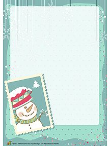A imprimer, papier à lettre de fête avec un timbre bonhomme de neige