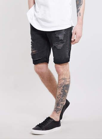 Black Ripped Denim Shorts - Men's Shorts - Clothing | Clothes ...