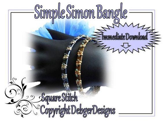 Simple Simon Bangle  Tila Beading Pattern by DebgerDesigns on Etsy, $6.50 8 & 11 seed beads