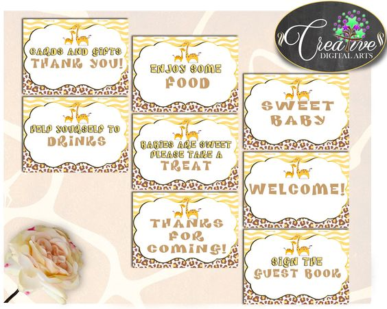 Baby Shower Giraffe TABLE SIGNS printable pack set for boy or girl in brown yellow theme, digital files, Jpg Pdf, instant download - sa001 #babyshowerparty #babyshowerinvites