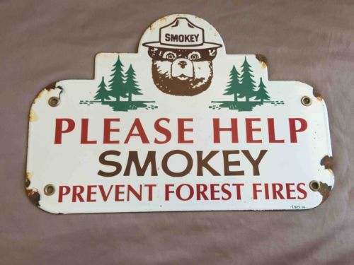 Vintage-Smokey-the-Bear-Prevent-Forest-Fires-Porcelain-Campground-Sign