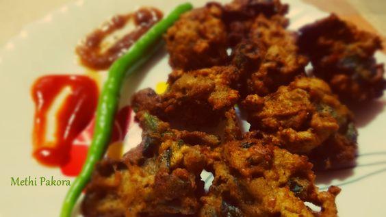 Palak and methi Pakora (spinach and fenugreek fritter)