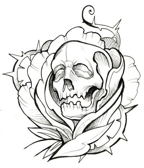 Cover Up Rose Outline: Skull Thorns Rose Ink Tattoo Outline
