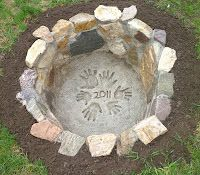 Fire Pit  Circle of hands and date....love it!