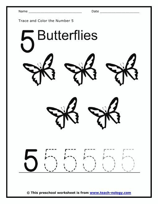 Color the 5 butterflies and trace the number 5. | Number 5 ...