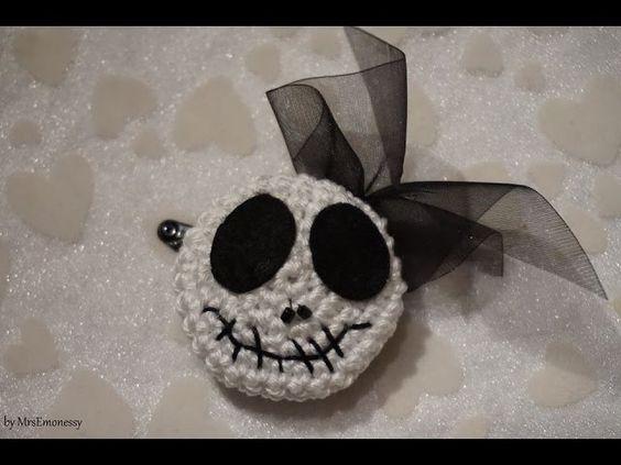 DIY Häkeln Button Crochet Haarspange Halloween