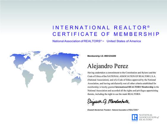 2018 Certificado Homologación con International REALTOR por la NAR IRM Certificate Realtor de Alejandro Perez Irus AlejandroPI Mentor Formacion Agentes Inmobiliarios