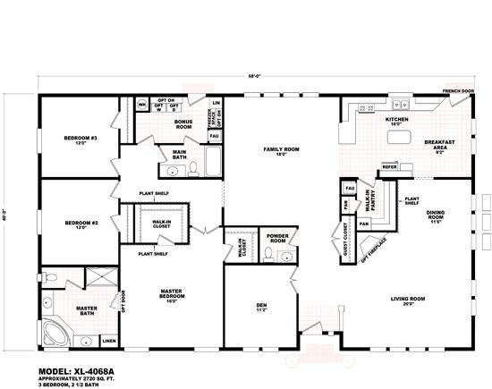 Triple wide mobile homes mobile home floor plans and for Double wide floor plans with basement