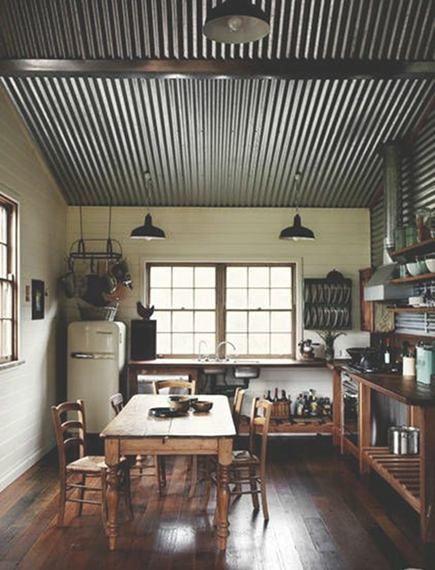 Corrugated ceiling, end grain flooring, open cabinets, vintage industrial lighting