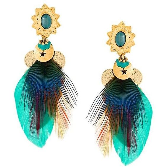Gas Bijoux 'Sao' earrings (170 BAM) ❤ liked on Polyvore featuring jewelry, earrings, gold, feather earrings, feather jewelry, gas bijoux and earring jewelry