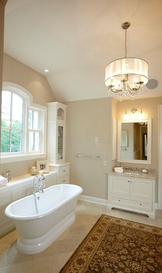 Benjamin Moore Mannequin Cream - Traditional Home - love the wall color and the bathroom