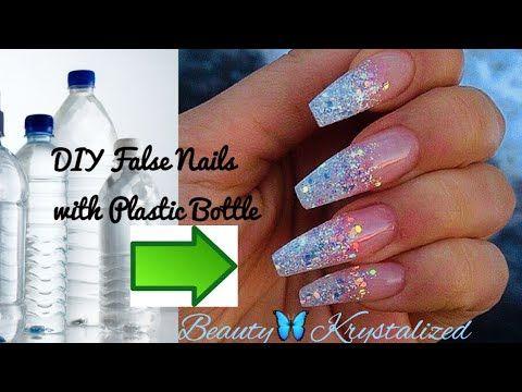 Diy Princess Fake Nails With Plastic Bottle Easy Youtube Fake Nails Diy Fake Acrylic Nails Diy Acrylic Nails