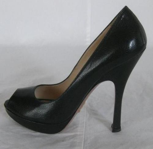 PRADA + Black LEATHER CLASSIC PLATFORM PEEP TOE PUMPS HEELS SHOES ~ SZ 37.5