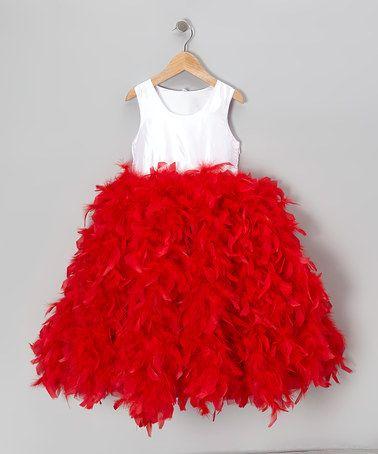 Bébé Oh La La White &amp- Red Feather Dress - Toddler &amp- Girls ...