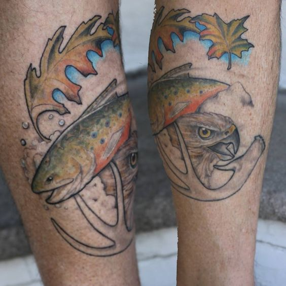 brook trout antler red tail foliage tattoo fish and fishing tattoos pinterest red. Black Bedroom Furniture Sets. Home Design Ideas
