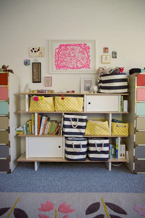 Oh Joy's nursery! Styling by Jen Gotch / Photographs by Bonnie Tsang: Dresser Bookshelves Ideas, Joy S Nursery, Dresser Drawers, Baby Rooms, Colorful Dresser, Drawer Colors, Playroom Ideas, Kids Rooms